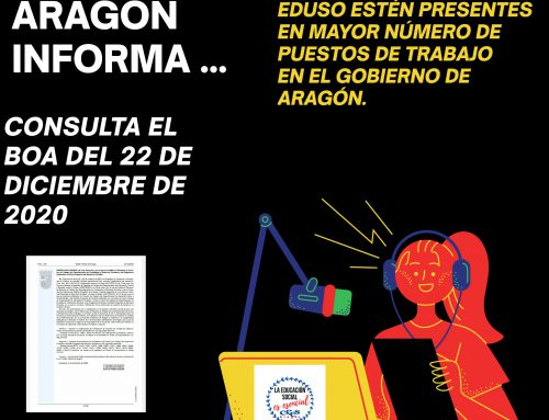 El CEES-ARAGÓN consigue que los y las Educadores-as Sociales estén presentes en un mayor número de puestos de trabajo en el Gobierno de Aragón