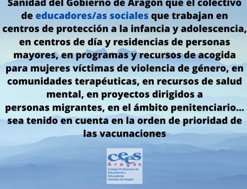Educación Social. Profesión esencial y vacunación.