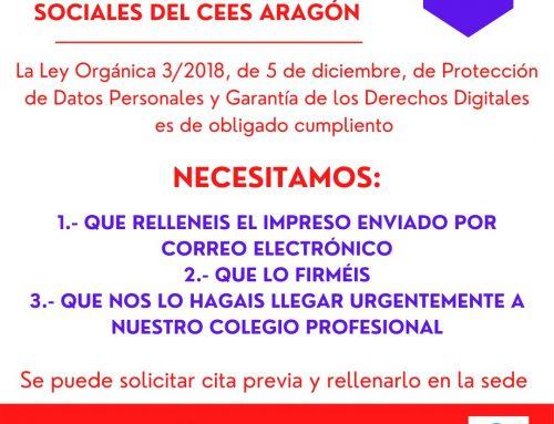 RELLENA EL IMPRESO DE PROTECCIÓN DE DATOS