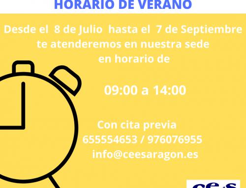 HORARIO DE VERANO ATENCIÓN AL PÚBLICO CEES-ARAGÓN