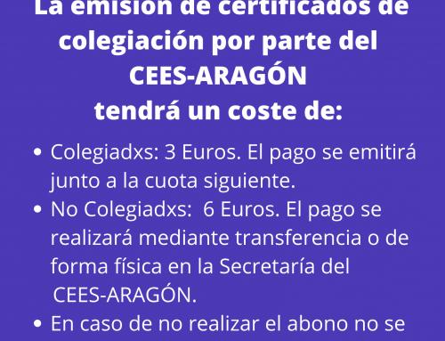 AVISO: EMISIÓN DE CERTIFICADOS DE COLEGIACIÓN